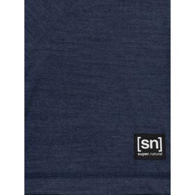 super.natural Logo T-shirt Homme, blue iris melange/jet black logo